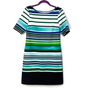 Eliza J Striped Scuba Shift Dress Sz 4